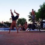 Hébergés chez Monica, dans la ville d'Oropesa, nous profitons de la piscine après une étape d'une centaine de km..
