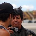 Florianopolis. Un journaliste brésilien nous arrête et nous pose quelques questions, affirmant vouloir réaliser un article sur notre périple...