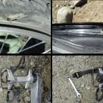 Ce mois en Patagonie à fait quelques dégâts dont : - 1 pneu Schwalbe déchiré - 1 jante Mavic 819 fendu en deux - 1 appareil Réflex numérique K7 de chez Pentax endommagé - 1 pédale cassée - 1 sacoche déchirée - 1 fixation de sacoche hors service - 8 patins de frein - 1 anti-vibrateur du V-brake - 1 pantalon technique déchiré