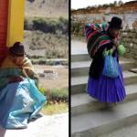 """Les """"cholitas"""", ces femmes boliviennes qui transportent leurs affaires dans des ponchos colorés, passent aussi pas mal de temps à guetter ce qui se passe dans les rues."""