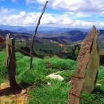 Au sommet, nous contemplons d'en haut la route de descente sinueuse qui nous attend au loin dans ce paysage andin.