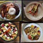 Casado, plat typique du Costa Rica que la femme est censée servir pour son mari : riz, haricots rouges, viande ou poisson, bananes frites, petits légumes. Langouste : Bien moins chère qu'en France, c'est un régal de pouvoir déguster ce met fin. Salade de fruit : pastèque, banane locale, ananas, papaye, litchi local Omelette : bananes frites (succulent), tomates, pain grillé, fraise, avocat