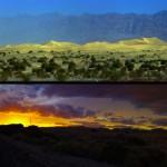 En haut, les dunes de sables à Death Valley. En bas, une ligne de chemin de fer digne d'un décor de Far West dans le désert de Mojave.