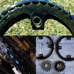 Vous pouvez constater l'état d'usure avancé de nos équipements !!! Ici : le plateau, le tendeur de chaine, le pneu et le pignon arrière du vélo de Siphay après plus de 26 000 Km !!! Nous avons profité de notre pause à San Francisco pour les changer et faire les révisions nécéssaires.