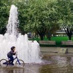 """Dans un des nombreux parcs de Portland. """"Moi, mouillé ?! Même pas peur !!"""" Il semblerait qu'il soit suffisamment habitué à la pluie..."""