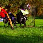 """Ko ! C'est le surnom de Koya (""""heureux pour toujours"""" en japonais), qui nous surprend dans notre sieste. Il voyage à vélo et il fera désormais partie de l'équipe jusqu'à Adélaide, environ 800km plus loin. Il nous confie qu'il se sentait seul sur les milliers de kilomètres qu'il a effectué depuis Cairns au nord-est du pays, en passant par la Tasmanie. Pour lui, son voyage se transforme et devient plus fun, nous dira-t-il."""