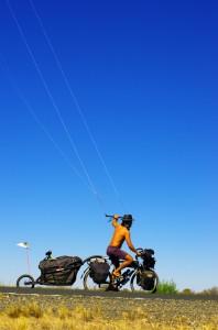 Morgan en action en kitebike avec la remorque Aevon