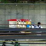 Rien de tel que du jus de coco glacé pour se rafraîchir dans la ville étouffante qu'est la capitale. Dans le brouhaha de la circulation, avec la pollution en bord de route, sous le fouillis de câbles électriques, cette vendeuse reste très calme et ne montrera aucun signe de stress !