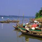 Toujours sur les rives du Mékong, les pirogues, motorisées ou non, parties à la pêche tôt le matin, reviennent chargées de poissons. Elles servent également de logement pour de nombreux pécheurs cambodgiens.