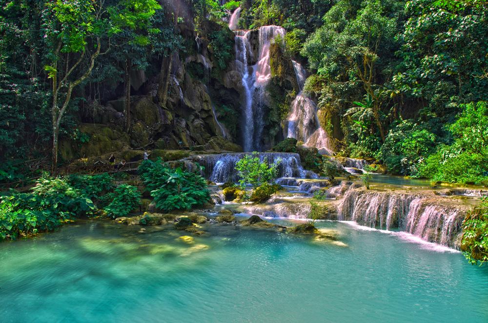 Une des nombreuses chutes d'eau aux alentours de Luang Prabang. Nul doute qu'avec de si jolies merveilles cet endroit du Laos attire autant de touristes !