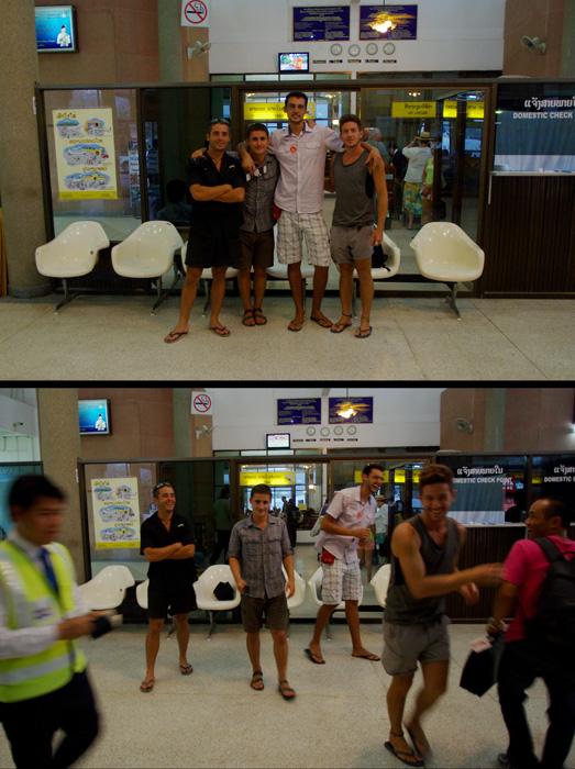 La photo finale avant le départ d'Etienne de l'aéroport de Luang Prabang vers la France. Un semblant de sérieux pour la photo mais l'esprit Solidream reste jusqu'au bout : une bonne marrade malgré l'émotion de voir partir notre frère d'aventure qui a décidé de s'envoler vers de nouveaux cieux dans notre pays natal. Etienne nous manquera, c'est certain ! Surtout face au vent, nous ne pourrons plus nous planquer derrière ses 2 mètres ☺ Aller, on se revoit « tout à l'heure » dans moins de 6 mois !