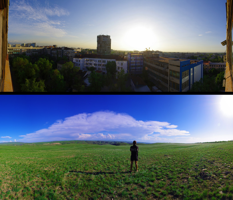 À une centaine de kilomètres d'écart ! Vue du dessus, nous voyons le centre d'Almaty où le béton est roi, parcouru par de grosses voitures luxueuses et animé par l'excitation d'un pays libre depuis une vingtaine années. En dessous, l'air frais véhiculé par le vent de la steppe, de grands espaces à la vue dégagée et cette sensation de liberté... Un contraste qui définit bien notre quotidien dans ce long voyage.