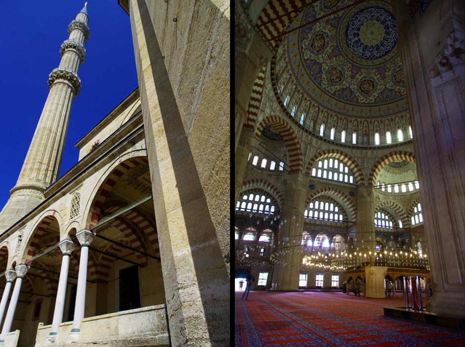 La mosquée Selimiye à Edirne est classés au patrimoine mondial de l'UNESCO depuis 2011. Entourée des quatre plus hauts minarets du monde islamique, la mosquée de Selim II est surmontée d'un grand dôme. Autour de la mosquée se trouvent de nombreux bâtiments additionnels : bibliothèques, écoles, hospices, bains, salles de restauration pour les indigents, marchés, hôpitaux et un cimetière.