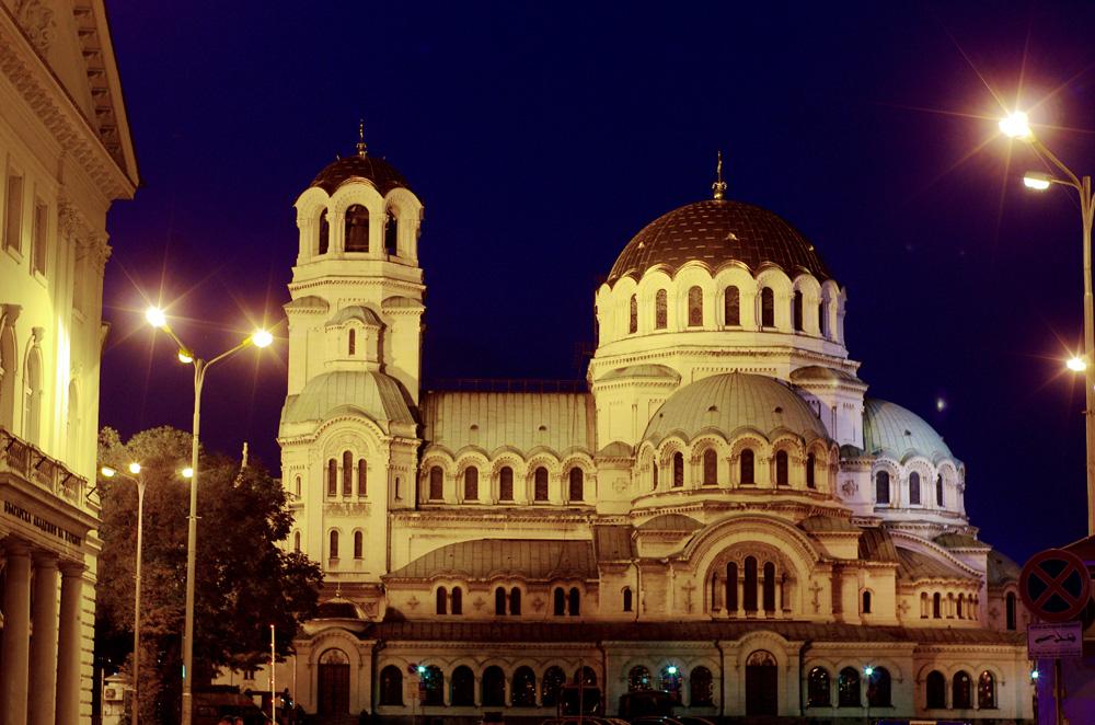 Ici, la cathédrale Alexandre Nevski au coeur de la ville de Sofia.