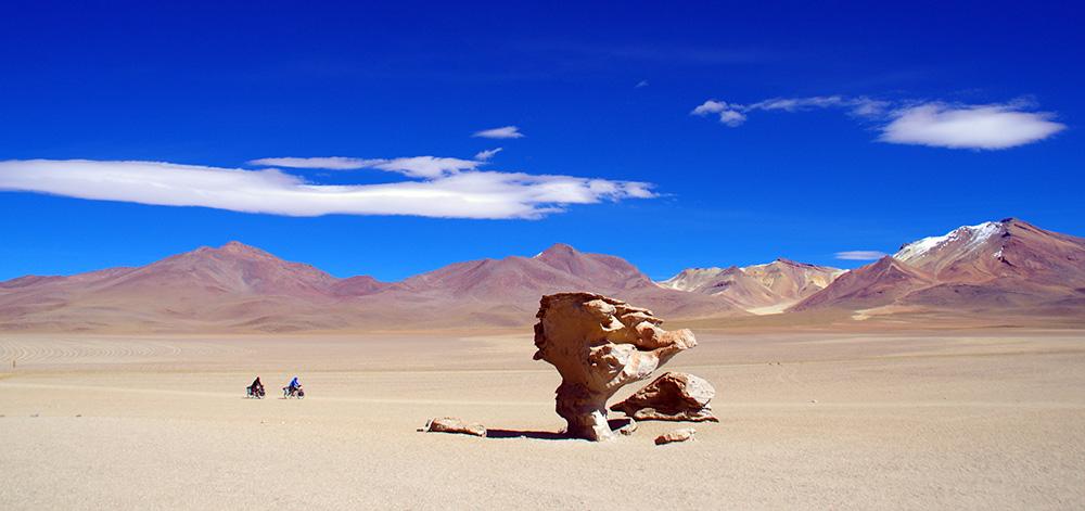 A plus de 4000m dans le désert de Siloli, l'Arbol de Piedra intrigue. Paravent providentiel pour le voyageur, il fait penser à un arbre sculpté par les bourrasques